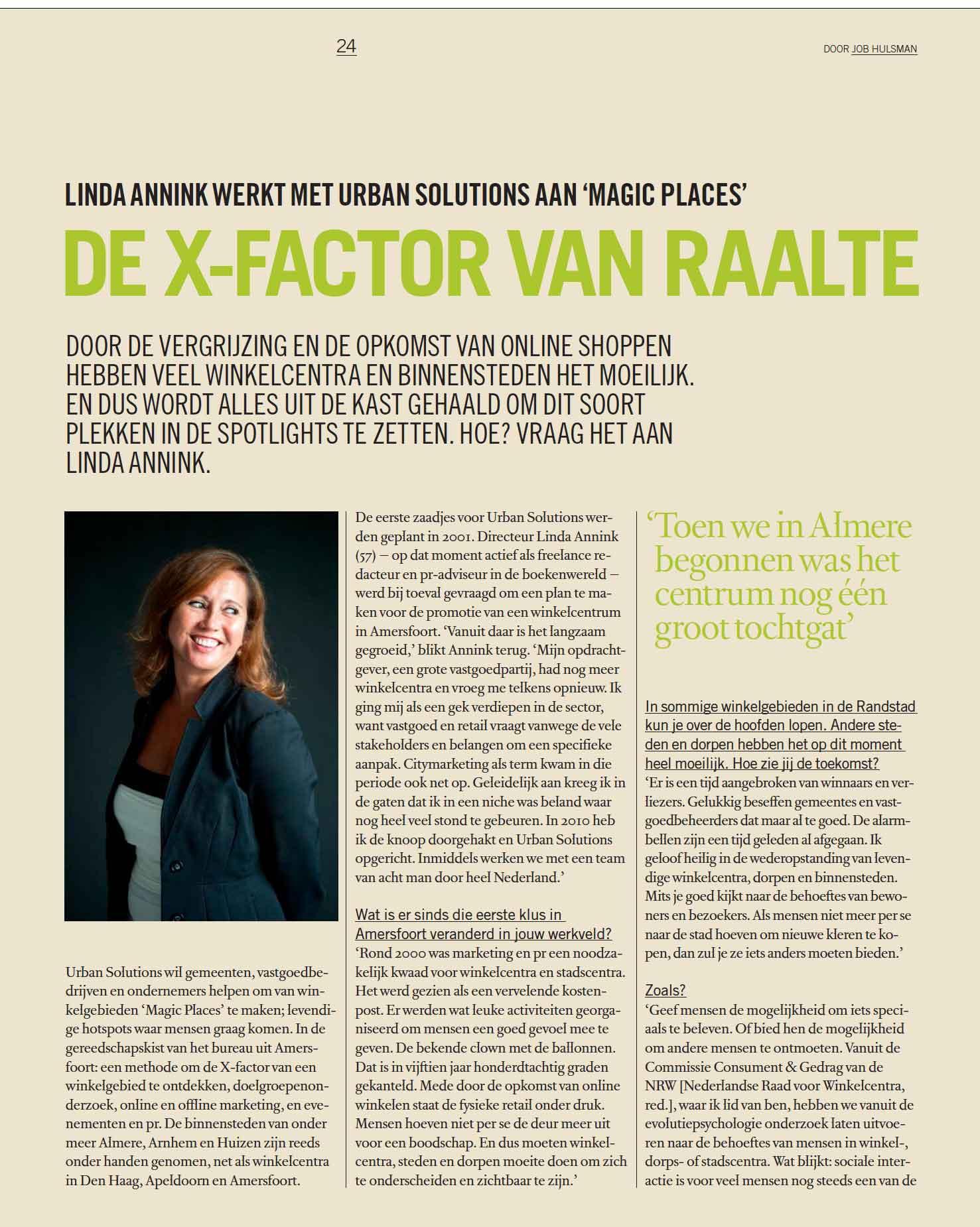 Artikel De X Factor van Raalte © Urban Solutions gebiedsmarketing I vastgoedmarketing